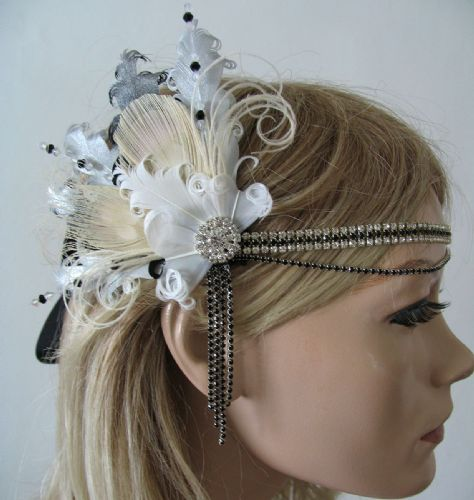 "Black White Silver Peacock Feathers Crystal ""Liv"" Headband 1920s Art Deco Gatsby Flapper"